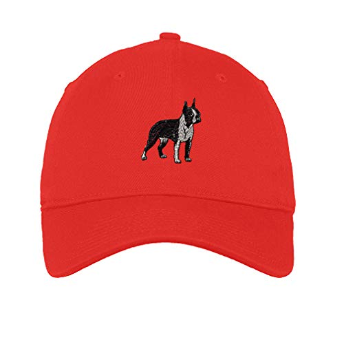 Low Profile Soft Hat Boston Terrier A Embroidery Dog Name Cotton Dad Hat Flat Solid Buckle - Red, Design Only