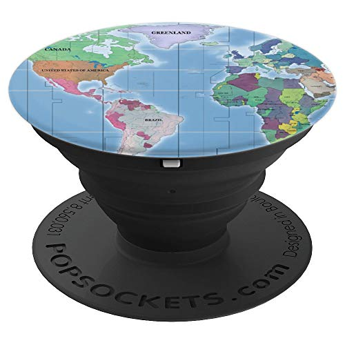 World Map Earth Globe Phone Gift for Men Women Kids - PopSockets Grip and Stand for Phones and Tablets