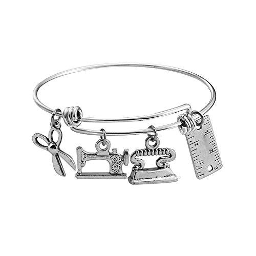 Designer Fashion Jewelry - KUIYAI Sewing Charm Bracelet and Scissors Bangle Sewer Gifts for Costume Designer (tailor)