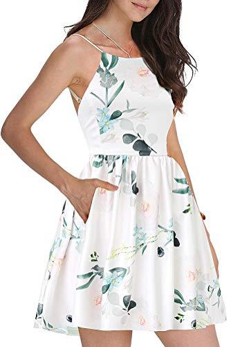 (FANCYINN Women Sexy Spaghetti Strap Floral Print Mini Short Dress Multicolor M)