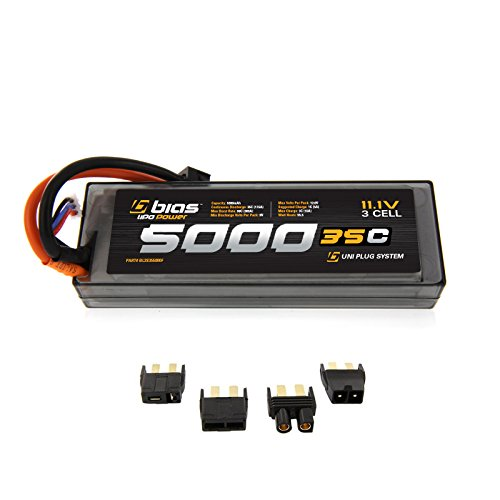 Bias 35C 3S 5000mAh 11.1V LiPo Hard Case Battery UNI Plug (EC3/Deans/Traxxas/Tamiya) for RC Car, Truck, Buggy, Boat, Heli, and ()