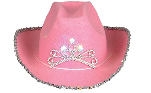 Hat Childrens Cowgirl Costume Accessory (Rhode Island Novelty Child Pink Blinking Tiara Cowboy Hat)