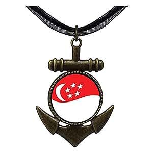 Chicforest Bronze Retro Style Singapore Flag Anchor Pendant