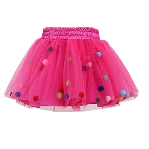 Tutu Skirt GoFriend Baby Girls Tulle Princess Dress 4-layer Fluffy Ballet Skirt with Little Pom Pom Puff Ball (M, Rose Red) -