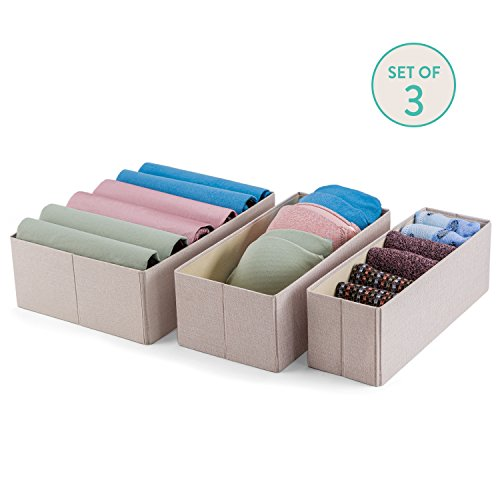 Fabric Drawer Dividers, Storage Bins, Drawer Organizer-Set of 3 Moisture Proof Closet Organization Tools- Best Clothing/Sock/Lingerie/Underwear/Scarf/Tie/Jewelry Holder