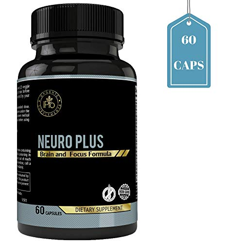 (iPro Organic Supplements 60 Capsules Neuro Plus Brain Booster Nootropic Pills for Focus, Concentration, Performance, Energy, Memory, Clarity, Boost Healthy Cognitive Functions Natural Ingredients)