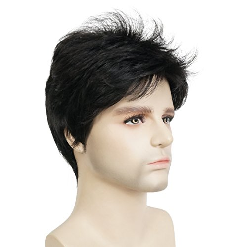 Lydell Men Wig Natural Short Straight Hair Synthetic Full Wigs (#2 Natural Black) -