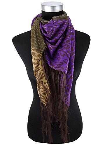 foulard en brun foncé brun violet fil scintillant à motifs avec franges