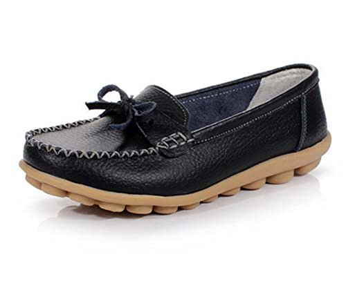 Lucksender Womens Bowknot Casual Flat Loafer Shoes Black AdQrXg