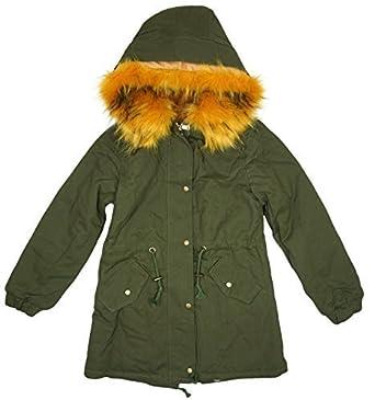 30bfaf690bc2a Filles Clair Capuche Fausse Fourrure Khaki Parka Style Khaki ou noir Manteau  tailles de 3 to