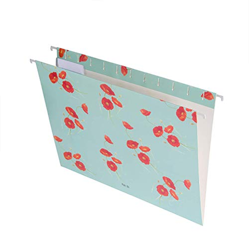 Easyzon Hanging File Folders with 1/5-Cut Adjustable Tab Stylish Modern Designer Recycled Extra Durable 12pcs/Pack Letter Size, 3 Different Designs (Flowers)