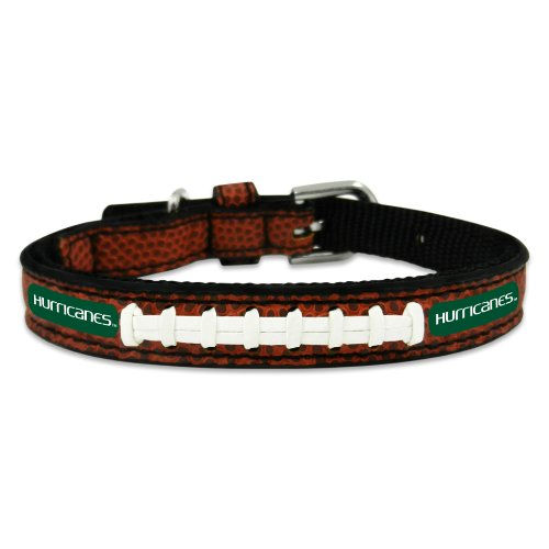 NCAA Miami Hurricanes Classic Leather Football Collar, Toy