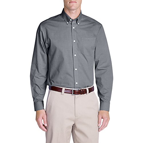 Eddie Bauer Men's Wrinkle-Free Relaxed Fit Pinpoint Oxford Shirt - Solid - Pinpoint Dress Shirt Fit