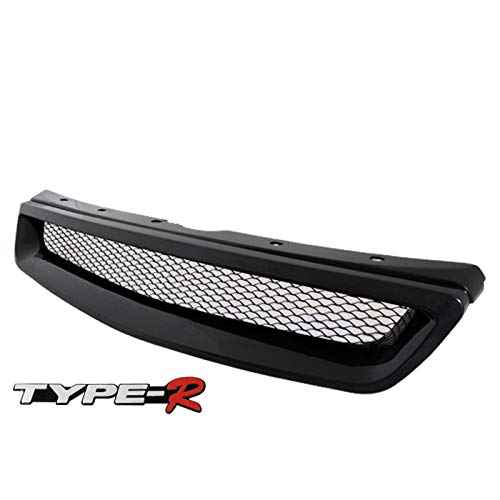 - Fit 1999-2000 Honda Civic Front Bumper Grille Grill Black Type-R Style with Emblem