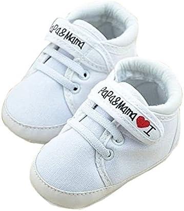 zapatos de bebe - SODIAL(R) zapatos ocasionales infantiles de suela suave de calzado deportivo de patron de I Love Papa Mama de bebe recien nacido 0~6 meses 11cm blanco