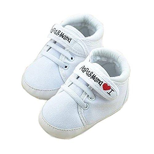 CUHAWUDBA zapatos ocasionales infantiles de suela suave de calzado deportivo de patron de I Love Papa Mama de recien nacido 0~6 meses 11cm blanco