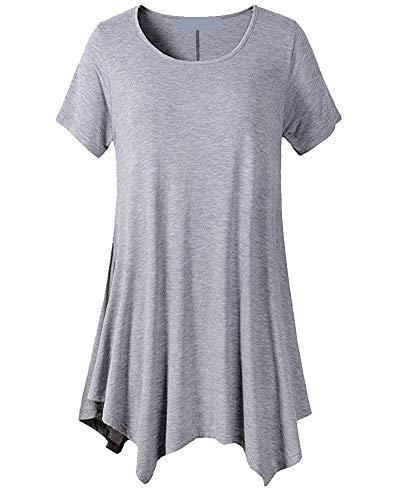 Femme Haut Shirt Courtes Tee Manches Et Baggy Col Tunique Unicolore Casual Longue Chemise Costume Elgante Mode Grau Oversize O Chic qwUx45