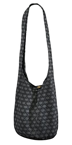 Over Slouch Prints Hippie Cotton Shopping Hippy Eco Sustainable daisy Living Canvas Sling Black Body 40 Star Bag Friendly Boho Cross qWBv00XaP