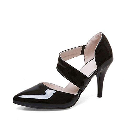 Women's High Heel Buckle Evening Party Dress Casual Sandal Shoes(Black 35/4.5 B(M) US - Dress Patent A-boo Peek