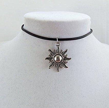 90s grunge sun choker, sun necklace, leather choker, leather necklace, custom jewelry, sol necklace, affordable gifts, celestial necklace