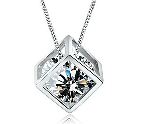 Crystal Square Pendant Necklace (Shally Women's S925 Sterling Sliver Plated CZ Crystal Pendant Necklace Magic Cube Square Shape Necklace)