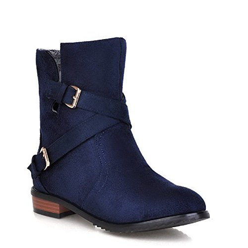 AllhqFashion Women's Mid Top Pull On Frosted Low Heels Round Closed Toe Boots, Blue, - Mall Stores In Raleigh