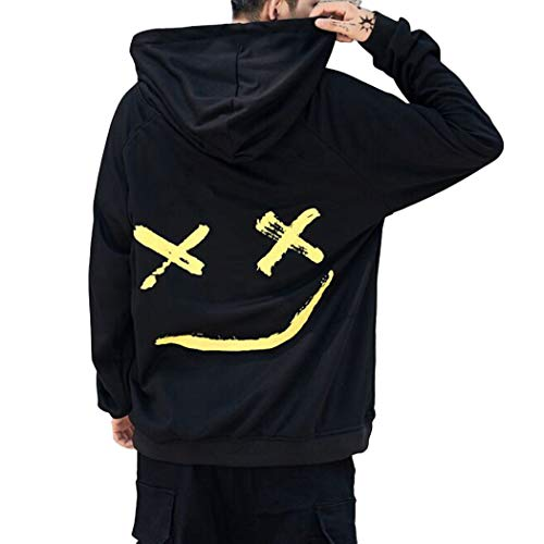 XWDA Mens Pullover Hoodie Sweater Smile Print Patchwork Halloween Costume Christmas Hip Hop Pocket Streetwear -