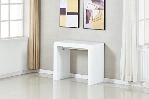 Minimax Decor Extendable Space Saving Modern Dining Table, Transforms from a Console Table or Desk to a Large Dining Table That Seats Up to Twelve (White Gloss 2.0)