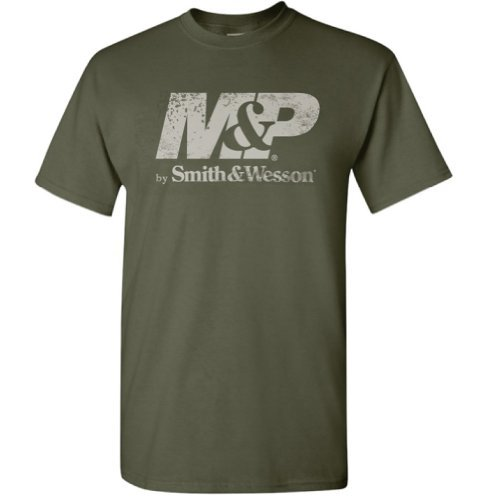 (Men's Distressed Logo M&P by Smith & Wesson T Shirt - Green, Large)