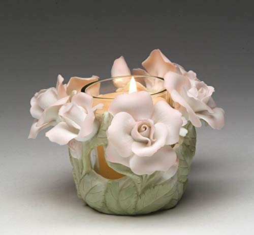 - Cosmos Gifts Fine Porcelain Hand Painted Roses with Glass Cup Tealight Votive Candle Holder (Candle NOT Included), 5