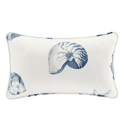 - Beach House Pattern Oblong Cotton Throw Pillow, Coastal Fashion Decorative Pillow, 20X12