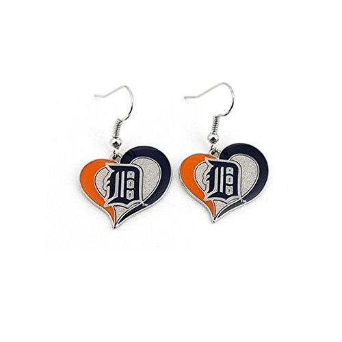 Detroit Tigers Swirl Heart Earrings