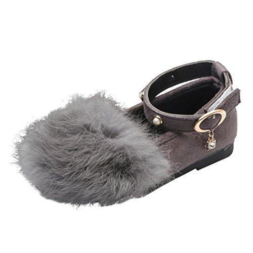 TPulling Mode Junge Und Mädchen Martin Stiefel Herbst Und Winter Plüsch Prinzessin Schuhe Lässige Schuhe Grau