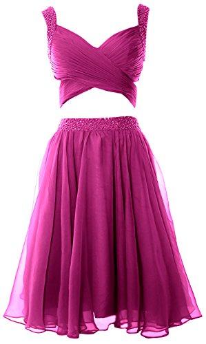 nbsp;pezzi Mini Fuchsia donne da Chiffon sera abito 2 Homecoming MACloth formale Prom vestito x6qdE7fF8w