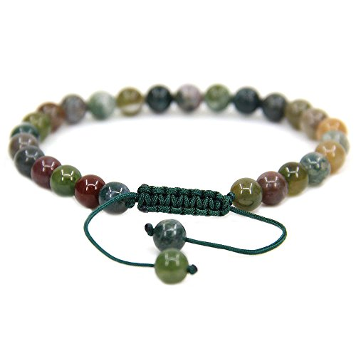 Natural India Agate - Natural India Agate Gemstone 6mm Round Beads Adjustable Bracelet 7