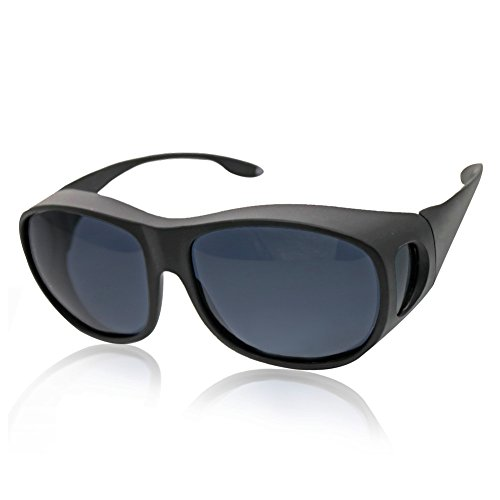 Solar Shield Fits over Glass Sunglasses for Driving Flying Boating Fishing and Snowing by Yonovo,Black