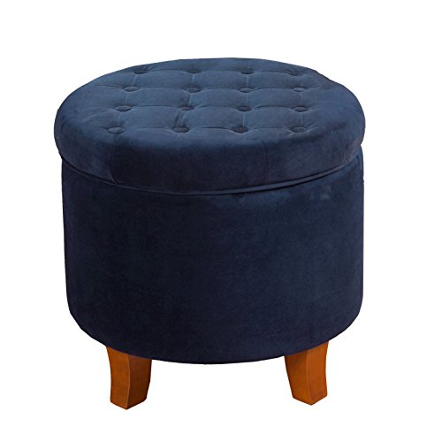 HomePop K6171-B215 Velvet Button Tufted Round Storage Ottoman with Removable Lid, 19