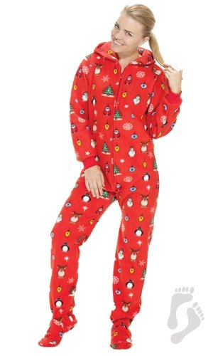 Footed Pajamas Holly Jolly Christmas Adult Hoodie One