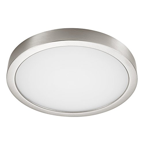 (GetInLight Round 8-inch Dimmable Flush Mount Ceiling Fixture, (2nd Generation), 14 Watt, Brushed Nickel Finish, 3000K Soft White, 80W Replacement, Damp Location Rated, ETL Listed, IN-0306-2-SN)