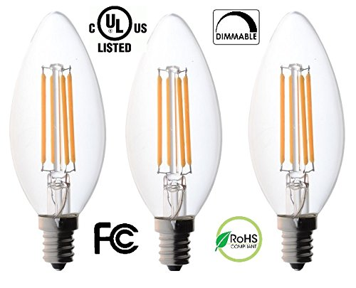 60 watt Candelabra Bulbs, Bioluz LED Candelabra Bulbs, Dimmable Filament Clear 60 Watt LED Bulbs (Uses only 4.5 watts), E12 Base, C37 LED Filament Candle Bulbs, Pack of 3 - 60w Clear Glass