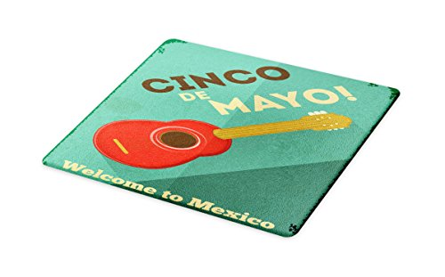 Lunarable Cinco De Mayo Cutting Board, Graphic Mexican Guitar Image and May Five Festival Font on Grungy Background, Decorative Tempered Glass Cutting and Serving Board, Large Size, Multicolor by Lunarable