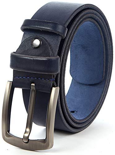 Men Leather Belt Solid Full Grain Leather Allergy Free Buckle 1.5 inch 10 oz Strap (XL-128cm>42-46