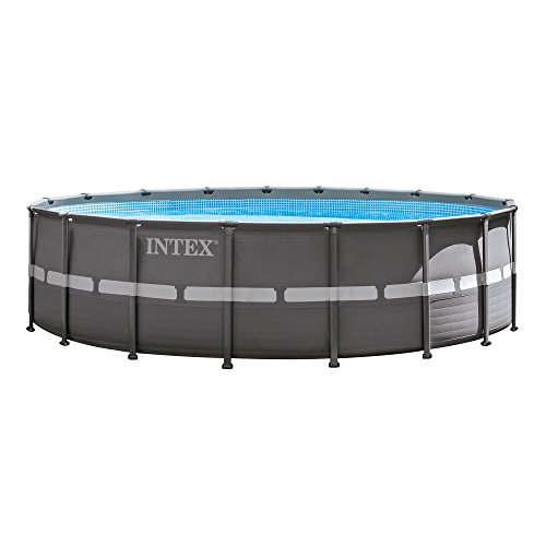 Frame Round Pool (Intex 18ft X 52in Ultra Frame Pool Set with Filter Pump & Saltwater System, Ladder, Ground Cloth, Pool Cover, Deluxe Maintenance Kit & Volleyball Set)