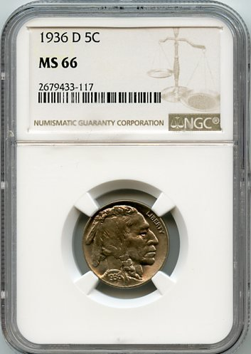 1936 D Indian Head Buffalo Nickel Nickel MS-66 NGC