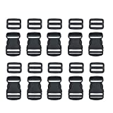 10 Set 1 Inch Flat Dual Adjustable Plastic Quick Side Release Plastic Buckles and Tri-Glide Slides for Luggage Straps Pet Collar Backpack Repairing (Black, Fit for 1