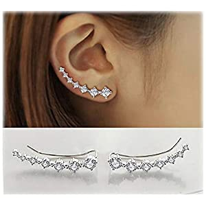 7 Crystals Ear Cuffs Hoop Climber S925 Sterling Silver Cartilage Earrings with Cubic Zirconia Piercing CZ Hypoallergenic…