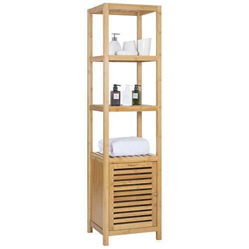 Ollieroo Bamboo Bathroom Shelf 5-Tier Multi-functional Storage Rack Shelving Unit Size L14.2