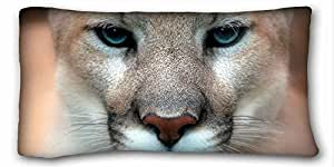 """Generic Personalized ( Animals muzzle pumas eyes close ) Pillowcase Standard Size 20""""X36"""" Design Pillow Case Cover suitable for Twin-bed"""