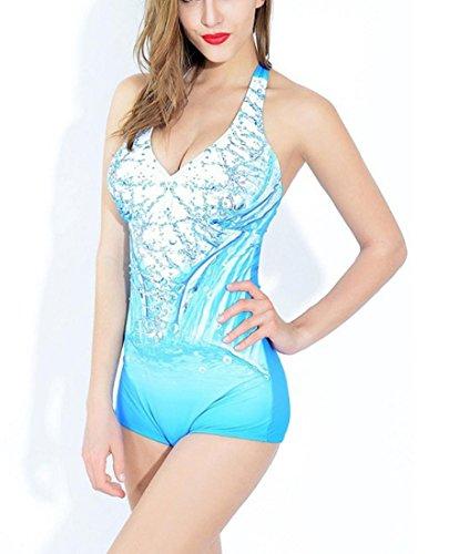 Hzz Mujeres de una pieza del traje de baño cabestro Shorty con las gotitas de agua del patrón de trajes de baño de Monokini del traje de baño lake blue