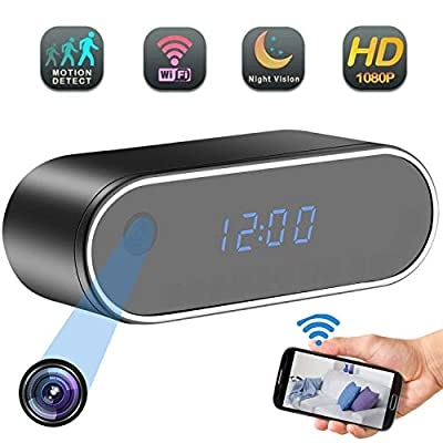 Alarm Clock Camera,WiFi Mini Spy Camera Wireless HD1080P Clock Spy Camera Hidden Nanny Cam 140°Angle Night Vision Motion Detection, Security Home Spy Camera for Home Office by Dancing Angel
